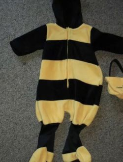 Hal Baby Grand Baby Bumble Bee Hooded Costume Size 6/9 Months Fleece Silver Wings for Sale in Boca Raton,  FL