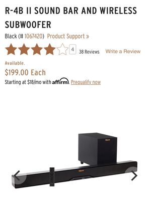 Lightly used Klipsch R-4B sound bar and wireless sub with remote for Sale in San Diego, CA