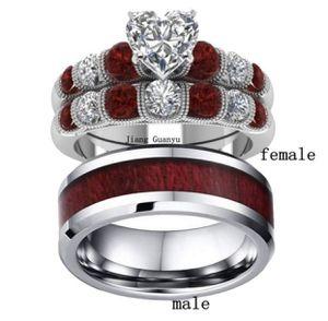 2 Rings Couple Rings Tungsten steel Men's Band Silver White Gold Filled Heart Zircon Garnet Women's Wedding Ring Sets.(women size 8 men size 10) for Sale in Moreno Valley, CA