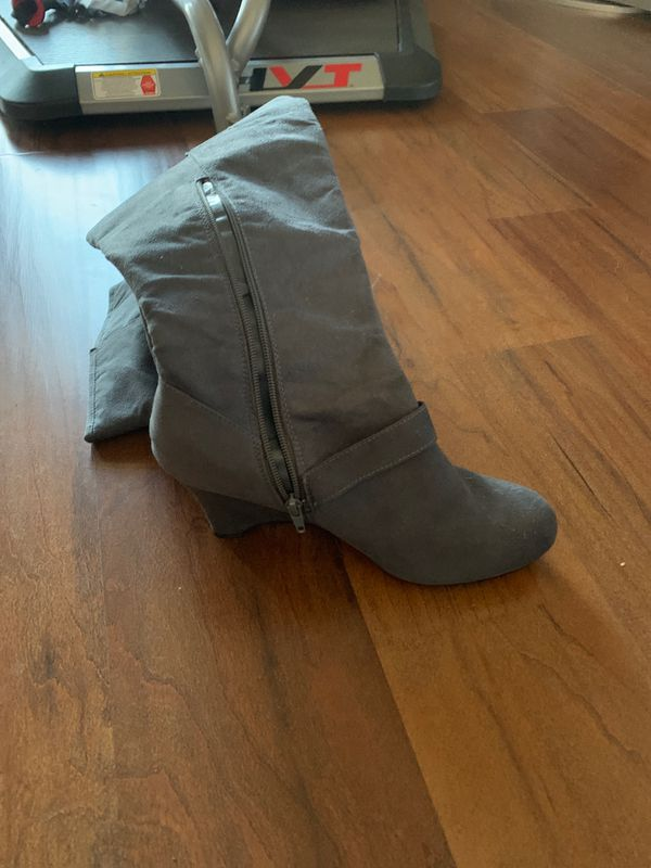 Grey Suede Boots Size 10