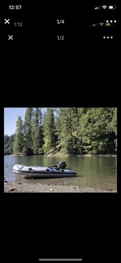 Polaris inflatable rib fiberglass boat 11ft with 15 horse mercury for Sale in Vancouver,  WA