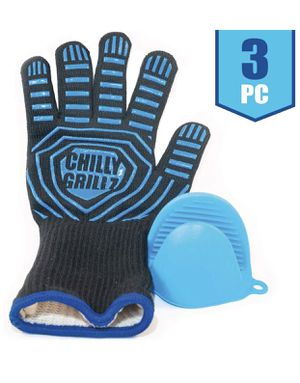 3 pieces- Large Pair of Premium BBQ Gloves and Silicone Oven Mitt for Sale in Orange, CA