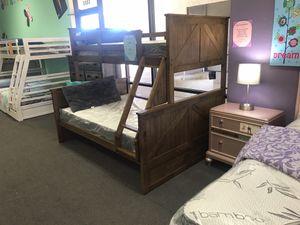 Rustic oak twin overfull bunk bed for Sale in Glendale, AZ