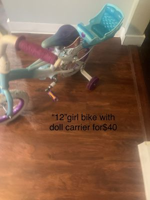 """""""12""""girl bike with doll carrier for Sale in Boston, MA"""