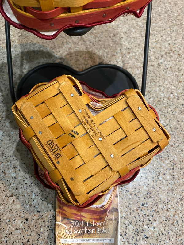 Longaberger 2000 little love baskets with wrought iron stand
