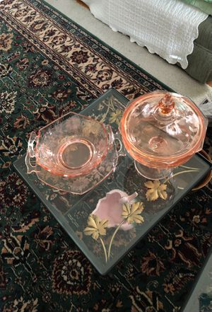4 pieces decorative bowl with plate and candy dish with cover for Sale in Bellwood, IL