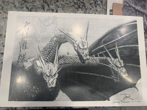 """King Ghidorah Hand Drawn Art Poster! Art Drawn By Lenny Romero 11""""x17"""" Signed for Sale in Corona, CA"""