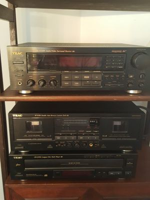 Vintage TEAC stereo system (Receiver- Double Cassette Deck- Compact Disc Player) for Sale in Centreville, VA