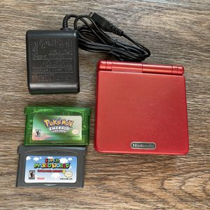 GameBoy Advanced SP ( Red ) + Pokemon Emerald and Mario World Reproduccion Save Perfect Like New for Sale in Lindenhurst, NY