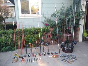 Fishing rods reels weights lures lots. Rods starting at 5 each, OR BUY ALL FOR ( 350.00) for Sale in Atwater, CA