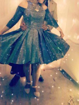 Beautiful glitter blue wedding dress L size for Sale in Phoenix, AZ