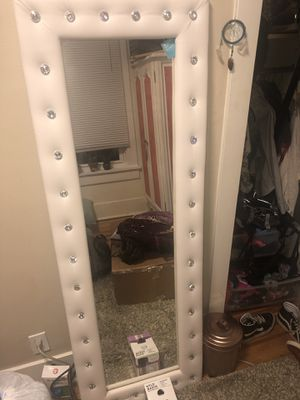 White leather full length mirror for Sale in Boulder, CO