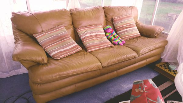 Leather couch price is firm