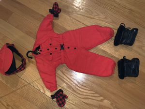 American girl doll pleasant company retired rare red snowsuit jumper matching mittens and boots and hat for Sale in Brookline, MA
