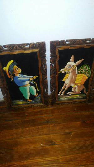 Felt painting - boy and donkey for Sale in St. Louis, MO