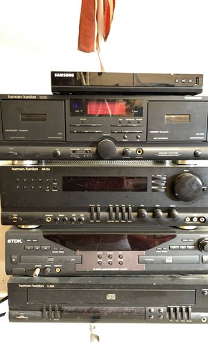 Home entertainment system harman/kardon 5 disc player / TDK 4x Digital Audio CF Recorder / harman/kardon avr20 receiver and harman/kardon cassette pl for Sale in San Antonio, TX