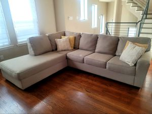 Left Chaise Sectional Couch (LAF Calicho Ecru) with Pillows - Great Condition! for Sale in Houston, TX