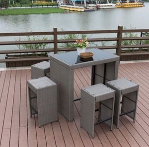 PatioPost Outdoor 5 Pcs Grey Wicker Bar Set: Glass Bar and Four Stools with Cushions – Perfect for Patios, Backyards, Porches, Gardens or Poolside 63 for Sale in Rowland Heights, CA