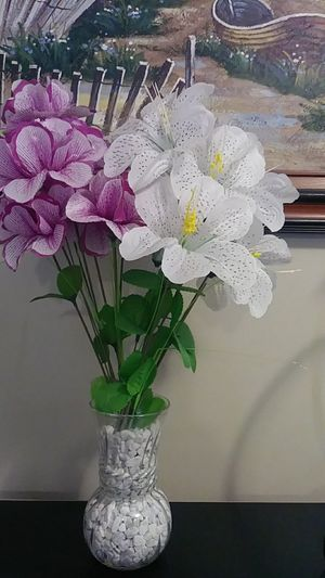 Artificial flowers glass vase for Sale in Everett, MA