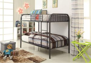 Twin OVER TWIN SIZE Bunk Bed Gunmetal FINISH for Sale in Ontario, CA