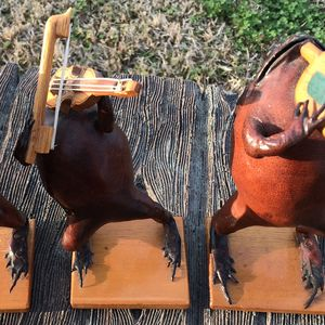 3 Taxidermy Mexican Folk Art Stuffed Frogs Toads Playing Saxophone Violin & Trumpet for Sale in Slidell, LA