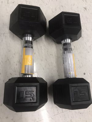 Dumbbell set 2x 15 lbs weight NEW for Sale in Elgin, IL