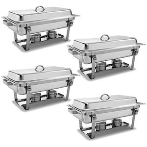 👨🏻‍🍳🍲4-Pack of Full Size Tray 8 Quart Stainless Steel Chafer for Buffet for Sale in Los Angeles, CA