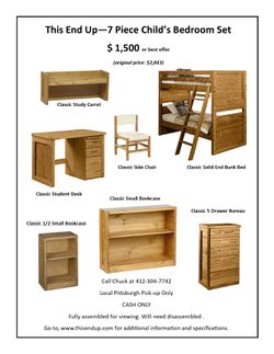 This End Up - 7 Piece Child's Bedroom Set for Sale in Pittsburgh,  PA