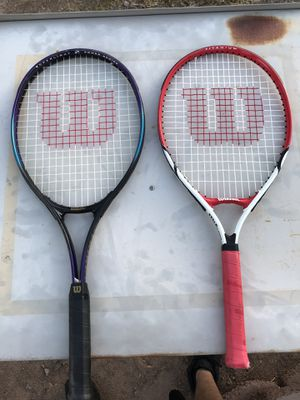 Wilson titanium tennis rackets and super light power series for Sale in Chandler, AZ