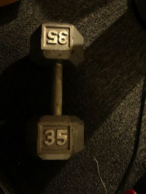 Cap Barbell Cast Iron Hex Dumbbells, Single 35 lbs, Gray for Sale in Santa Ana, CA