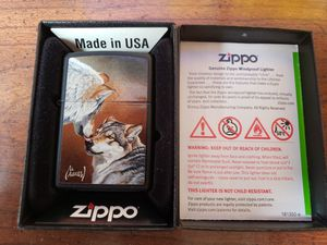 Vintage zippo lighter with wolf design for Sale in Erie, PA