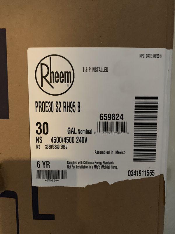 Rheem 30 gl water heater