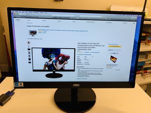 AOC i2269vw 22-Inch Class IPS Frameless/Extra Slim LED Monitor, Full HD,250 cd/m2,5ms,50M:1 DCR,VGA/DVI, VESA, FHD 1080p, 5 Milliseconds for Sale in Los Angeles, CA