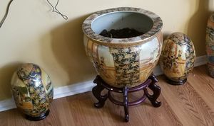 Oriental eggs, oriental pot and antique mirror for Sale in Indianapolis, IN