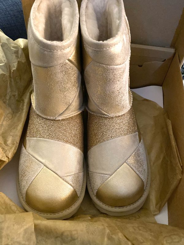 UGG KIDS Classic Short II Patchwork Gold NEW big girls size 5 - uggs youth children shoes boots