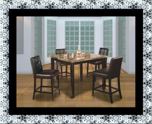 Marble tall table with 4 leather chairs free delivery for Sale in Rockville, MD