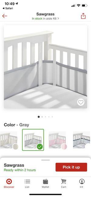 Breathable mesh baby crib liner in Grey for Sale in Davie, FL