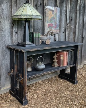"""""""Shabby Chic"""" Trestle Sofa Table - Sideboard Painted Black for Sale in Hillsboro, OR"""