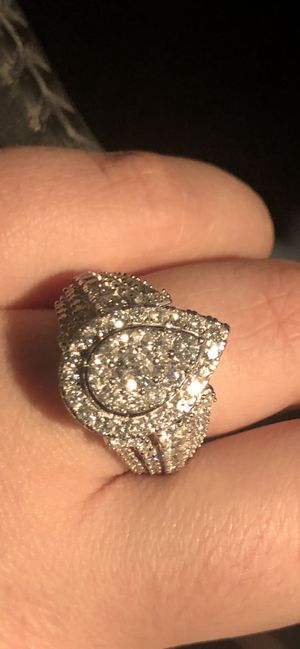 2 CT. T.W. Composite Diamond Pear-Shaped Frame Engagement Ring in 10K White Gold for Sale in Houston, TX