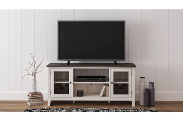 NEW, GRAY AND ANTIQUED WHITE COLOR, 60 inch TV STAND, SKU#TC287.gray and antiqued white color� for Sale in Midway City,  CA