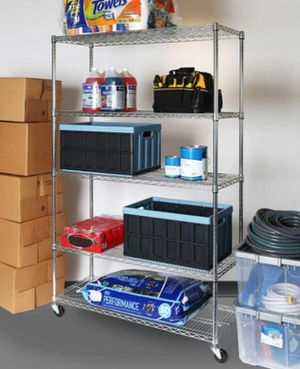 5 Shelf heavy duty wire shelving on casters for Sale in Eugene, OR