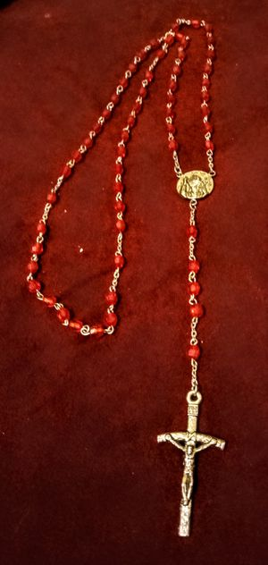 Red beaded rosory necklace for Sale in Colton, CA