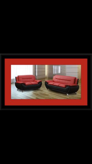 Nice two toned red and black couch and love seat for Sale in Olney, MD