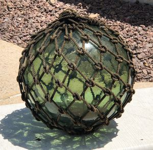 ANTIQUE GREEN GLASS FISHING FLOAT NAUTICAL BEACH OCEAN TIKI THEMED HOME OR PATIO DECOR for Sale in Tempe, AZ