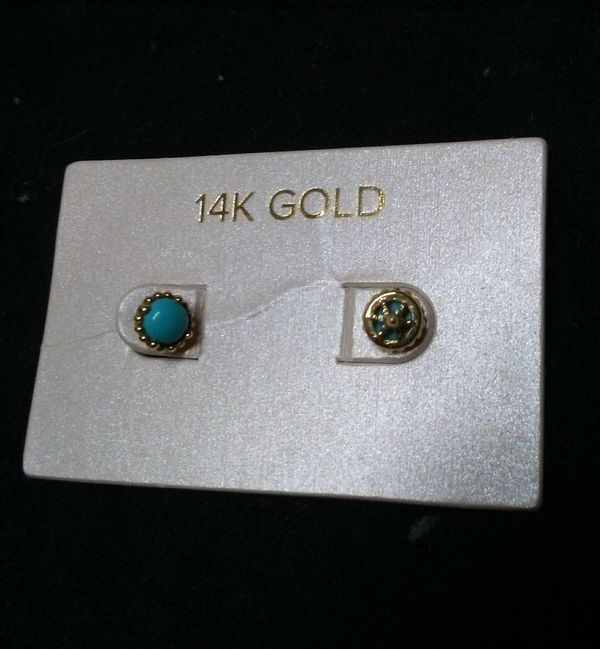 Real Turquoise and gold 14K earings