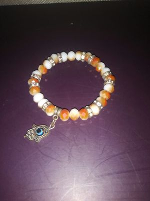 Hand with eye, orange and white beaded bracelet for Sale in Boston, MA