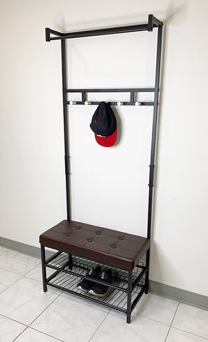 """(NEW) $35 Entryway Metal Shoe Rack w/ 28""""x13"""" Bench Seat and 71"""" Tall Coat Hanger Storage for Sale in South El Monte, CA"""