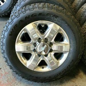 "New Takeoff Chevy Silverado 2500 Polished 20"" Wheels With Tires LT275/65R20 Goodyear Wrangler TrailRunner A/T 10 Ply Tires for Sale in Anaheim, CA"