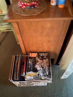 Box of old vinyl and old life magazines for Sale in Pequot Lakes, MN