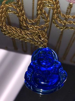 Blue Buddha pendant 14 k gold filled rope chain necklace for Sale in Newark, CA